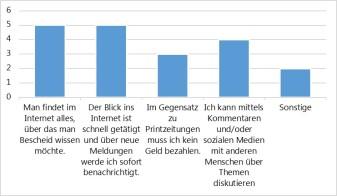 """... und Frage 6 """"Warum entscheidest Du Dich, vorrangig Onlinemedien für die Informationsbeschaffung zu nutzen?"""" (r.) aus unserer Umfrage. Bei letzterer Frage waren Mehrfachnennungen möglich."""
