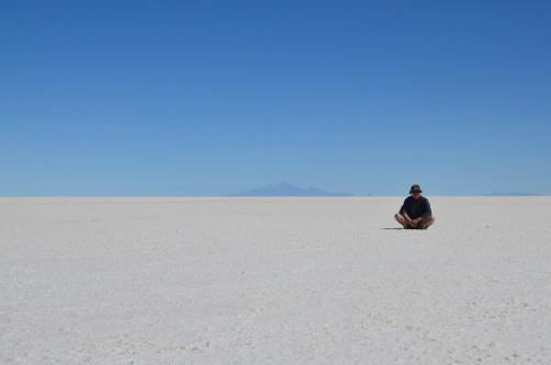 Ren Salar de Uyuni- größte Salzpfanne der Erde- mit Herrn Renner